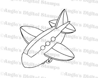 Airplane Digital Stamp Image
