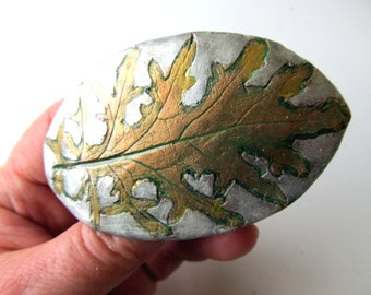 Barrette Kale Leaf Impression in Clay in Gold Green Silver Colors on French Style Clip Buckle Style