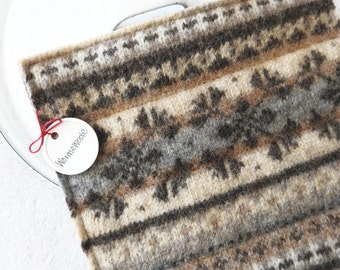 Wool Hot Pads / Pot Holders BROWN & GRAY Fair Isle Recycled Hotpads Eco Kitchen by WormeWoole