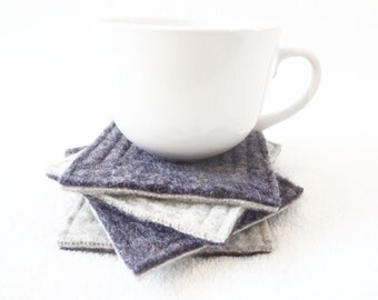 Wool Coasters PURPLE & LIGHT GRAY Recycled Mug Rugs Reclaimed Felted Wool Coasters Ecofriendly Housewarming Gift by WormeWoole