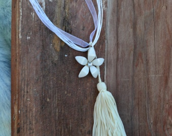 Sweet Little Flower Necklace and Tassel Shabby Chic Boho Paris Chic Autumn Fall
