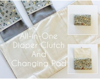 READY TO SHIP All-in-One Diaper Clutch and Changing Pad, Fox Print diaper clutch and changing pad