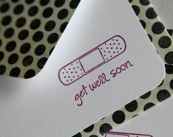 Set of 3 Stationery - Black Polka Dots with Fuschia Purple Bandaid - Get Well Soon