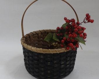 Storage Basket-Round Basket-Handwoven Basket-Gathering Basket-Easter Basket-Primitive Style