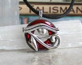 red eye of horus necklace, mens jewelry, fathers day, mens necklace, unique gift, Egyptian god, Egyptian symbol, The Wadjet, mens gift