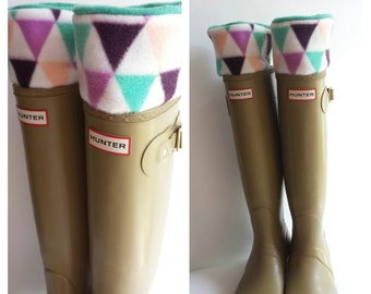 Boot Liners, Triangle print cuff with green Fleece Socks, Tall Boots, Boot Accessories, Sz Sm/Med 6-8 or Med/Lg 9-11