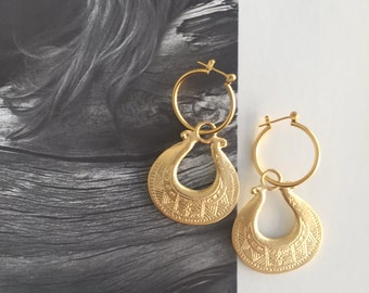 Tribal gold earrings , Gypsy hoop earrings , Ethnic jewelry , boho style