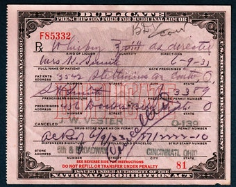 6/9 1933 Smith Prohibition Whiskey Prescription Pharmacy Liquor License Bar Doctor Pharmacist Gift Cincinnati Oh Ohio Rx Speakeasy