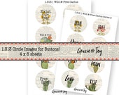 Set of 2 -Boho, Cactus, 1.313 mm,Digital Download, button, magnet, bottle cap image, Gypsy,gracie and joy