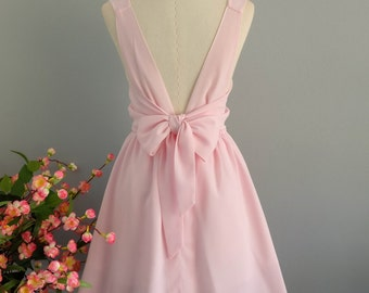Baby pink dress pink party dress pink prom dress bow back dress pale pink bridesmaid dresses pink backless dress pink chiffon dress