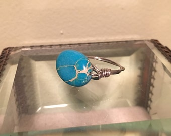 Blue Marble Stone Ring