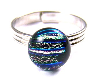 """Tiny Adjustable Glass Ring - 1/4"""" 8mm - Soft Pastel Pink with Blue Green Striped Reed Fused Dichroic"""
