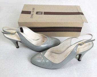 Original Vintage 1970s Grey Leather Slingback Heels UK 3.5