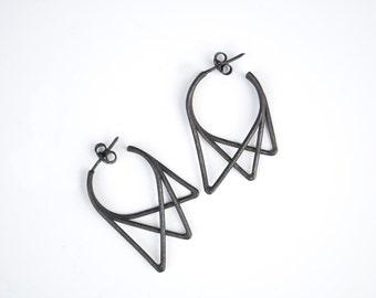 Geometric Earrings | Minimalist Earrings | Urbs collection | Oxidized Silver Earrings |  Black Triangle Earrings | Gift for her