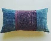 Vintage Mudcloth and Hmong Pillow Cover - Modern Bohemian Lumbar Pillow - Aubergine Boho Pillows