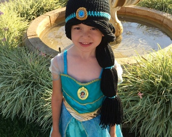 Princess Jasmine Inspired Hat/ Crochet Princess Jasmine Wig/ Available in Newborn to Child Size- MADE TO ORDER