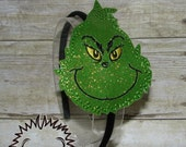 Grinch Embroidered Headband Slider