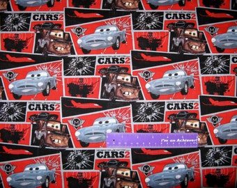 Disney Cars Movie Lightning McQueen Mission Block Cotton By The Half Yard