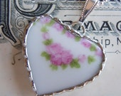 Fiona & The Fig Victorian-Antique French Limoges-PINK  ROSES - Broken China Soldered Necklace Pendant Charm-Jewelry