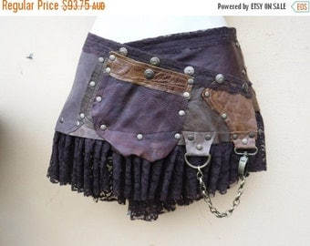 20%OFF Burning Man festival  steampunk bohemian gypsy leather skirt belt with dog clip & with pocket ...32'' to 40'' hips or waist...