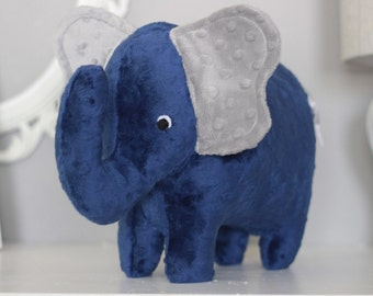 Stuffed Elephant Toy - Navy Blue and Gray Minky Plush Elephant - Elephant Toy -Nursery Decor - Baby Christmas Gift - Childrens Christmas Gif