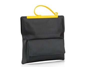 Leather Clutch Bag | Gifts for Women | Evening Bag | Black Leather Bag | Black Leather Clutch | Clutch Purse | Different colour handles