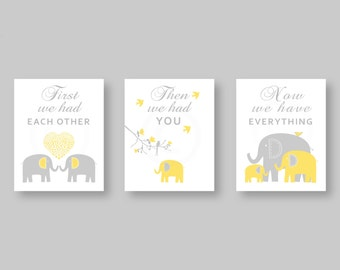 First We Had Each Other   Gray, Yellow, Elephant Nursery Decor  Baby Boy Nursery Art Prints  Children Art by YassisPlace