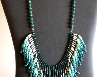 Native American necklace in greens and cream with crystals