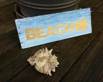 Beach Reclaimed Wood, Homemade Sign. Beach living, coastal rustic, shore, ocean, blue sign, vacation home, Rescued Wood