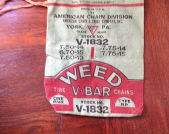 vintage cloth storage bag american chain division automotive decor collectible tire chain weed v-bar repurpose
