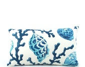 Blue Coral Lumbar Pillow Cover 12x20, Seashell Pillow, Blue Lumbar Cushion Cover, Blue Pillow, Throw Pillow, Accent Pillow, Vitamin Sea