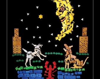 "The Moon Card - 11 x 14"" Tarot Card Poster Tarot Card Print Occult Wall Art Unique Tarot Cards Moon Wall Art"