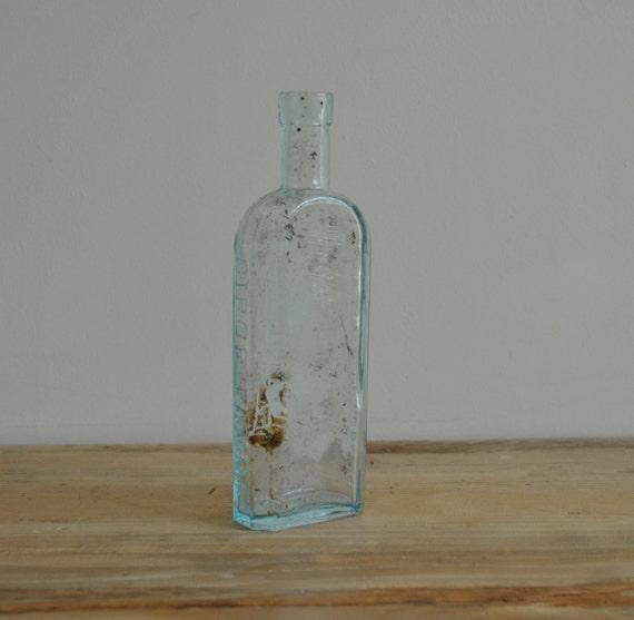 Vintage Aqua glass bottle Sirop Famel 20 Rue Des Orteaux