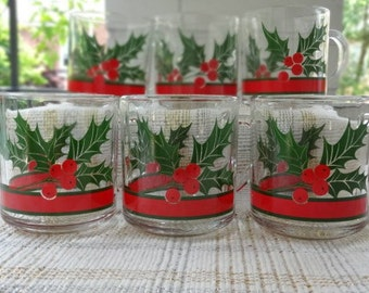 Libbey/Sharpe Holly and Berries Vintage Mug Set of Six