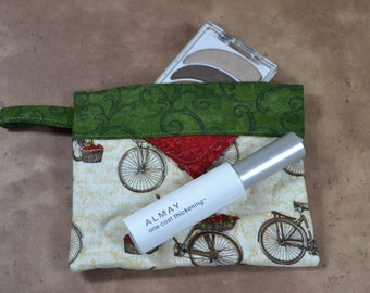 Bicycle Cotton Cosmetic Pouch, Patchwork Quilted Snap Bag, Jewellery Pouch