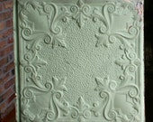 """24"""" Antique Tin CeilingTile -- Light Green Colored Paint with Ornate Design"""