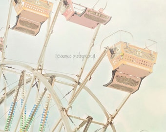 Ferris Wheel Print, Ferris Wheel Art, Ferris Wheel Photography, Carnival Art, Ferris Wheel Decor, Carnival Print, Pastel Nursery Art