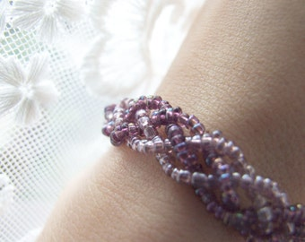 Lavender Braided Bracelet, Delicate Violet Beaded Bracelet, Boho Jewelry, Retro Style Lilac Braided Bracelet
