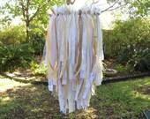 CUSTOM For KELLY M - Fabric Ribbon Chandelier, Wedding Chandelier, Wedding Decor, Shabby Cottage Country Rustic Wedding Decor, Bridal Shower