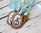 Vintage Inspired Small Tags - Pocket Watch -  Set of 5 - You choose ribbon color