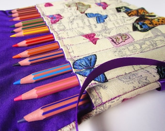 Pencil Roll Case Butterfly Colouring Pencil Holder Gift for Her Purple