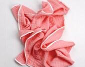Muslin blanket girl - Coral double gauze blanket - Pink baby bedding - Muslin swaddle baby girl