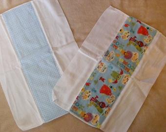 Monster Print Flannel & Diaper Burp Cloth -- 2-piece set