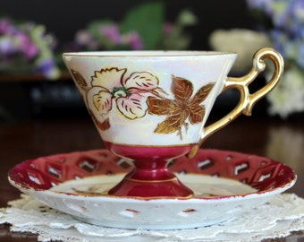 Pearlized Tea Cup, Teacup, Reticulated Saucer, Footed Teacups, Japan 13482