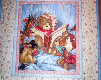 Hand Quilted Teddy Bear Baby Quilt
