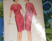 Vintage Butterick 3255 Seamed Dress Sewing Pattern 1960s Bust 37