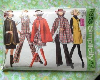 Vintage Simplicity 8353 Cape, Pants, Skirt, Vest Sewing Pattern 36 Inch Bust