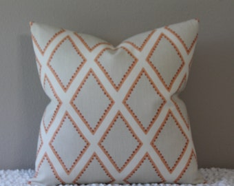 BOTH SIDES Or FRONT Only - Kravet Brookhaven in Coral - Square or Lumbar Size Decorative Designer Pillow Cover