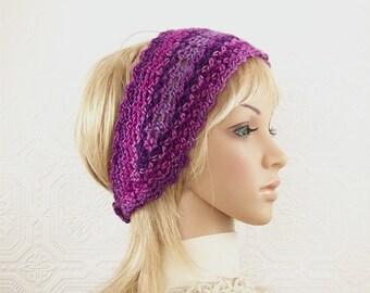 Crochet headband, boho head wrap adult headband purple, pinks Women's Winter Accessories gift for her Sandy Coastal Designs ready to ship
