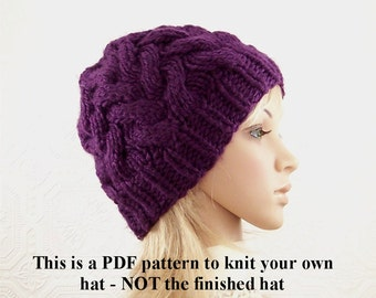 Knit hat pattern - adult beanie knitting pattern - PDF knitting pattern - instant download knitting pattern - Sandy Coastal Designs